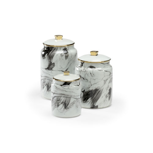 Silver 6-Inch Plume Canisters, Set of 3