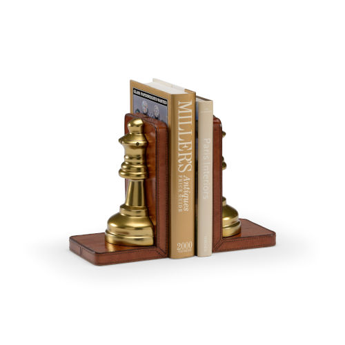 Brown 5-Inch Large Game Room Bookends Pair