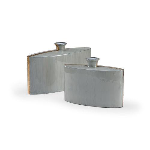 Gray 18-Inch Golden Edge Vases , Set of 2