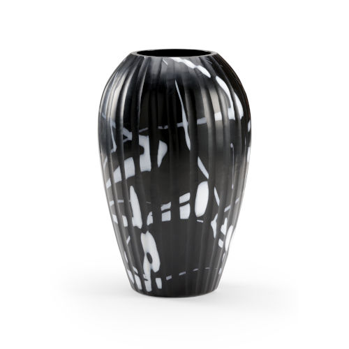 Black and White 9-Inch Midnight Oil Vase