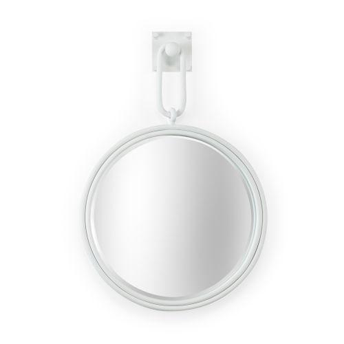 Grenada Matte White Round Wall Mirror with Iron Frame