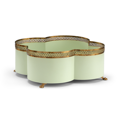 Lisa Kahn Green and Gold Tracery Cachepot