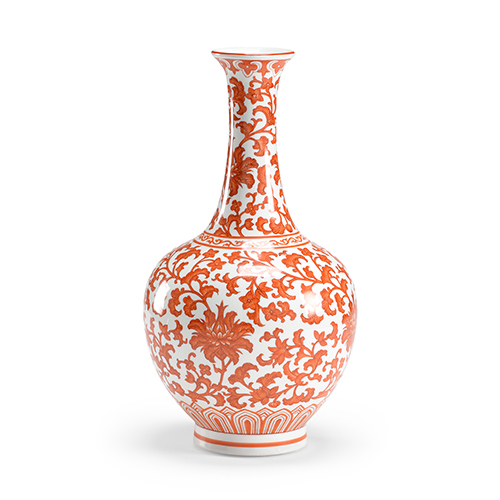 Orange Long Neck Vase