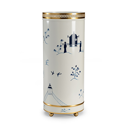 Blue and White Chinoiserie Umbrella Stand