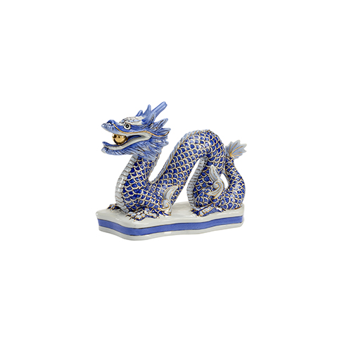 Blue and Off White Blue Dragon