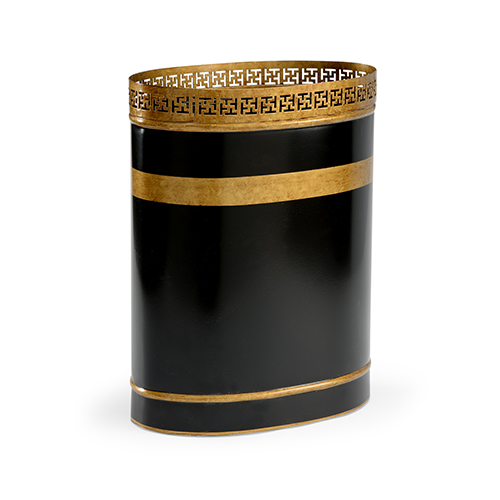 Bradshaw Orrell Black and Gold Robbins Wastebasket
