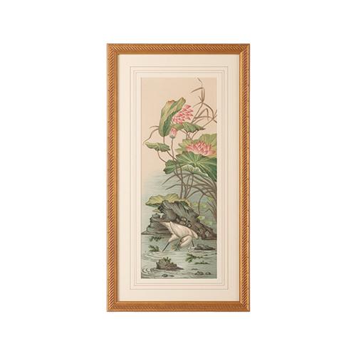 Gold Crane and Lotus Panel II Print