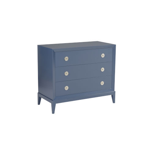 Blue 40-Inch Beveled 3 Drawers Chest