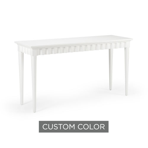 White 58-Inch Scallop Console Table