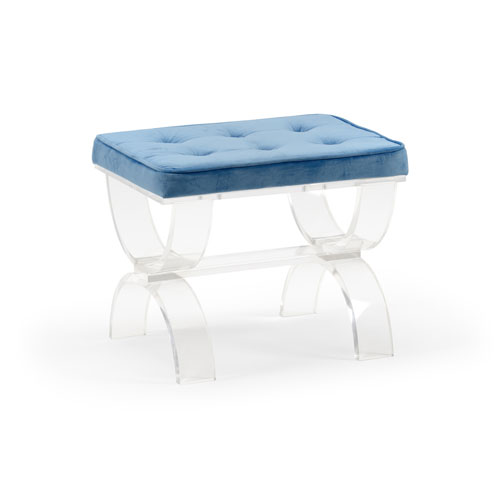 White and Blue 22-Inch Harlow Bench
