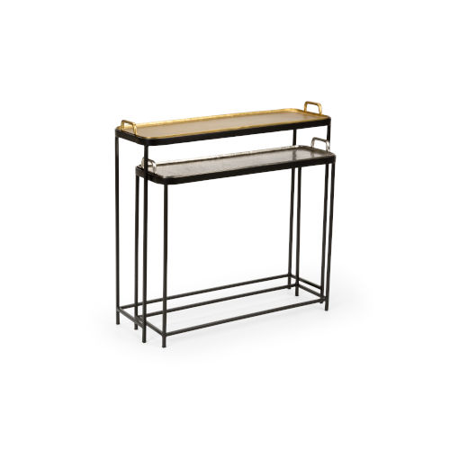 Multi-Colored 32-Inch Metal Mingler Tables, Set of 2