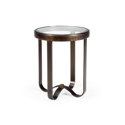 Bronze and Antique Silver 20-Inch Portland End Table