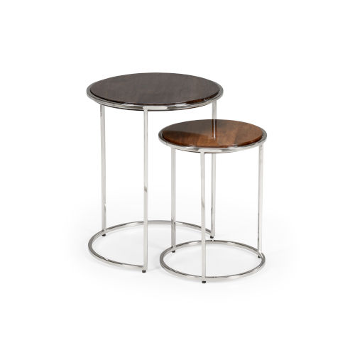 Black and Brown 18-Inch Weymouth Tables, Set of 2