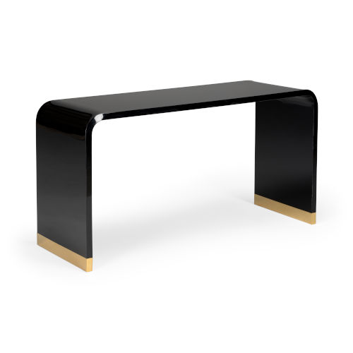 Black and Polished Brass Acrylic Console Table