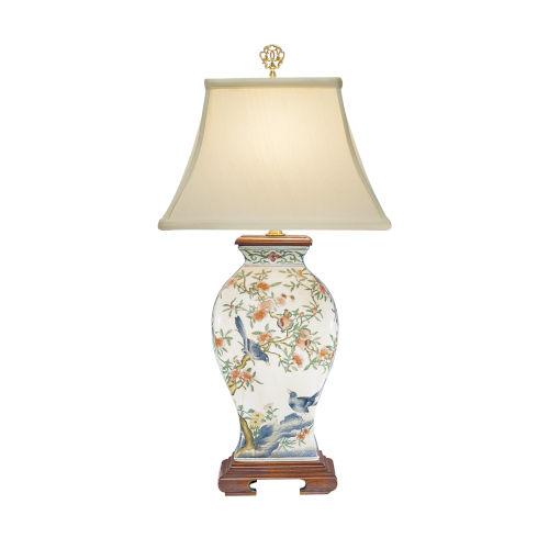 White One-Light 11-Inch Pom 'N Bird Lamp