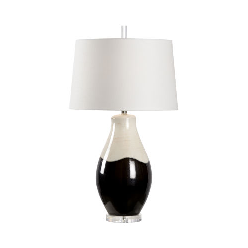 Off White and Black One-Light 6-Inch Palazzo Lamp