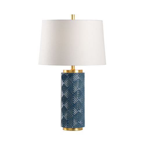 Off White and Blue One-Light 6-Inch Mountain Pine Lamp