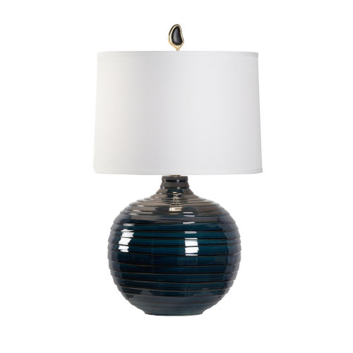 Off White and Blue One-Light 16-Inch Dark Knight Lamp