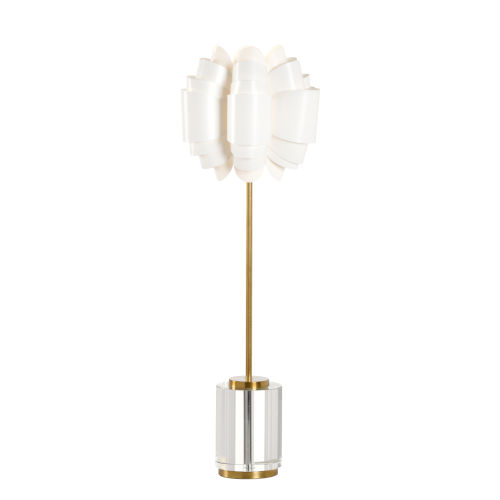 Brass and White One-Light 5-Inch Opera Lamp