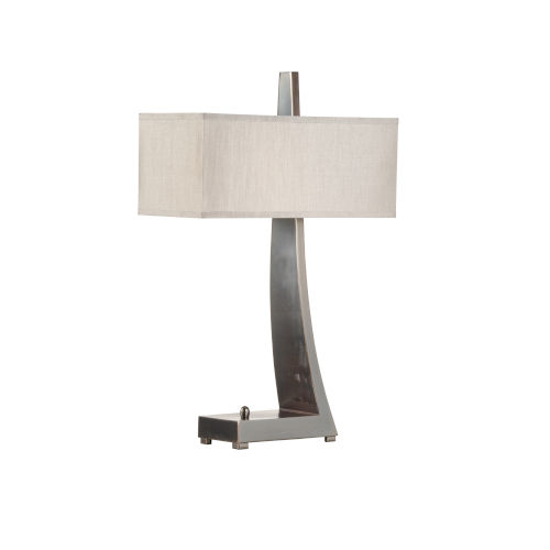 White and Silver One-Light 10-Inch Jaeger Desk Lamp