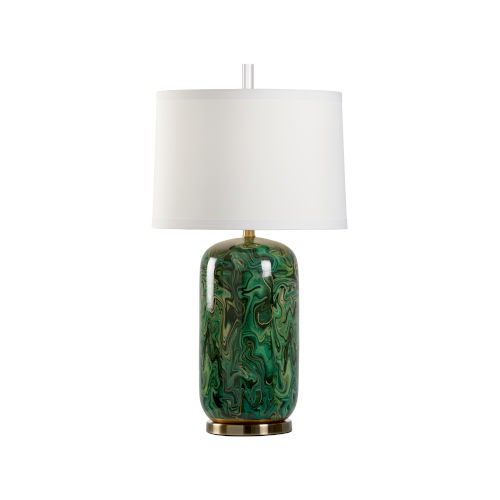 Off White and Green One-Light 7-Inch Newport Lamp
