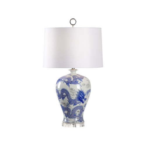 Off White and Blue One-Light 7-Inch Prosperity Lamp