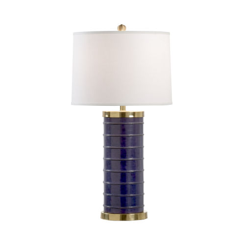 Off White and Blue One-Light 8-Inch Yacht Club Blue Lamp