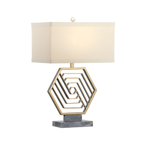 Gold One-Light 9-Inch Hexacious Lamp