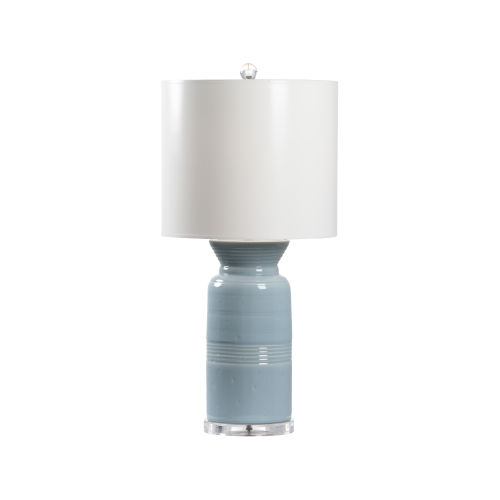 Mist Blue and White One-Light Table Lamp