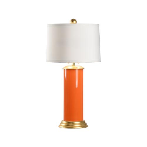 Savannah Orange, Gold and White Two-Light Table Lamp