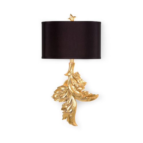 Black and Gold One-Light 11-Inch Left Gaylord Sconce