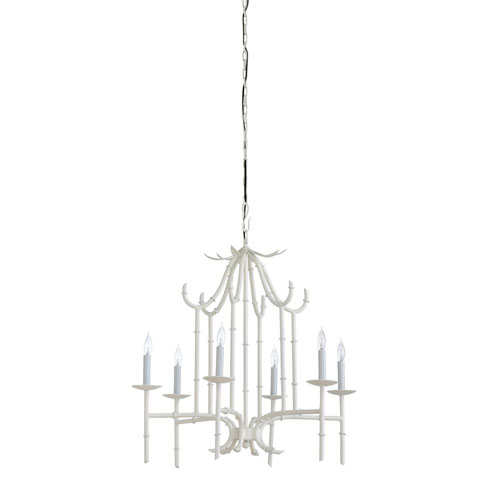 White Six-Light 27-Inch Bamboo Chandelier