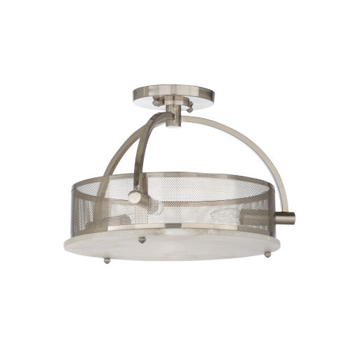 Nickel Three-Light 16-Inch Moon Flush Mount