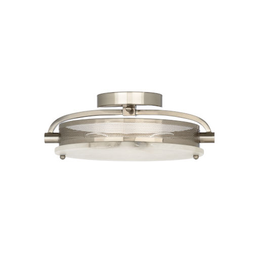Nickel Two-Light 16-Inch Moon Flush Mount