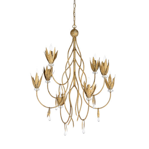 White and Gold Eight-Light 30-Inch Phoebe Chandelier