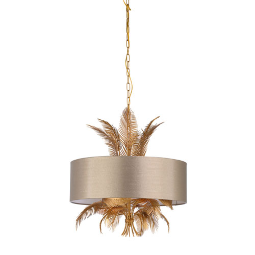 Gold Six-Light 24-Inch Wild Palm Chandelier
