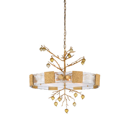 White and Gold Eight-Light 36-Inch Whitfield Chandelier Ii