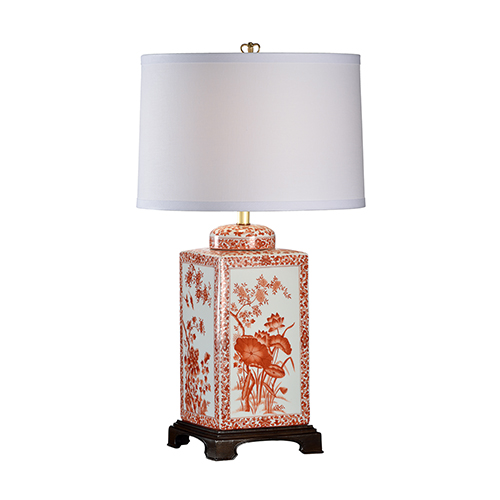 Red One-Light Lotus Table Lamp