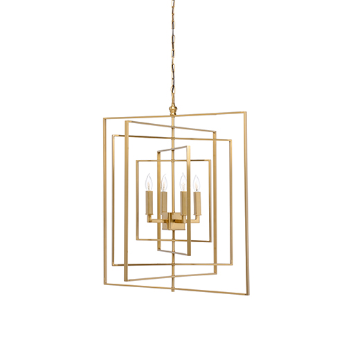 Lisa Kahn Antique Brass Four-Light Cube Chandelier