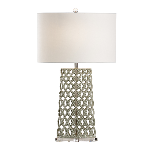 Nickel One-Light Oval Lamp