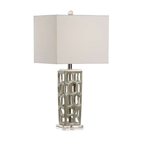 Nickel One-Light Square Lamp