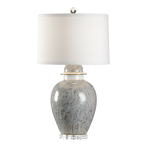 Gray One-Light Marbleized Lamp