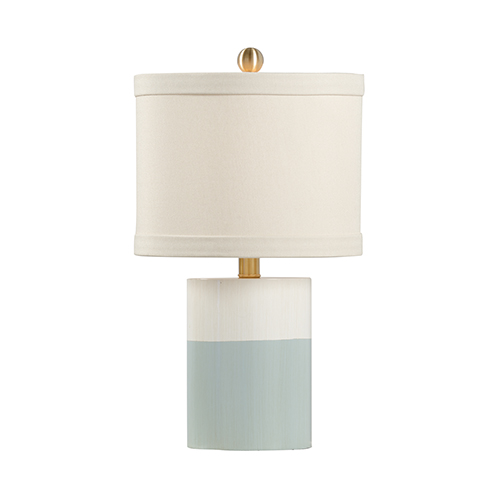 Pam Cain Cream and Blue One-Light Banded Table Lamp