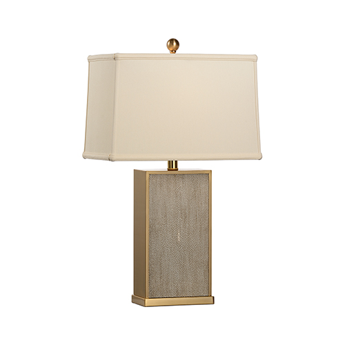 Gray One-Light Gray Shagreen Lamp