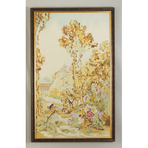 Antique Gold and Brown Aubusson Panel - B Wall Art