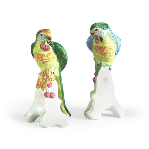 Multicolor Parrots with Cherries Figurine