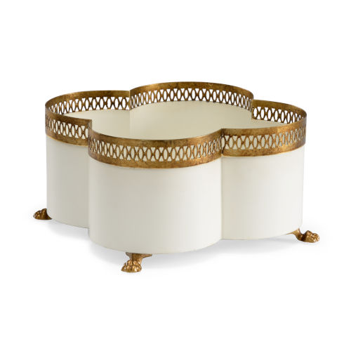 Tracery Cream and Gold Cachepot