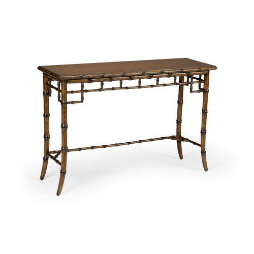 Dark Brown Bamboo Console Table