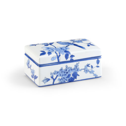 Blue and White Nine-Inch Bird Decorative Box