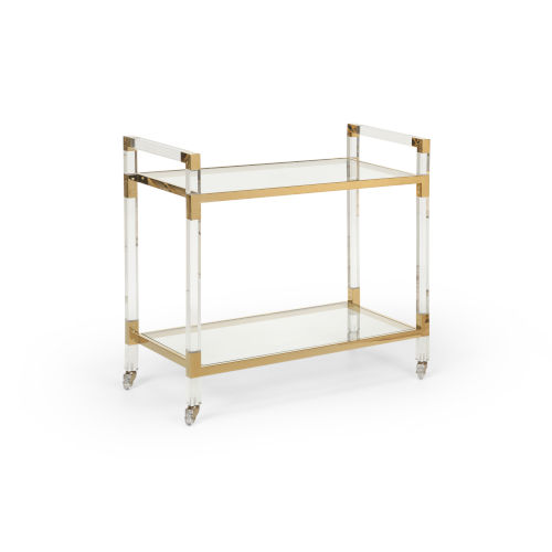 Polished Brass 36-Inch Bar Cart